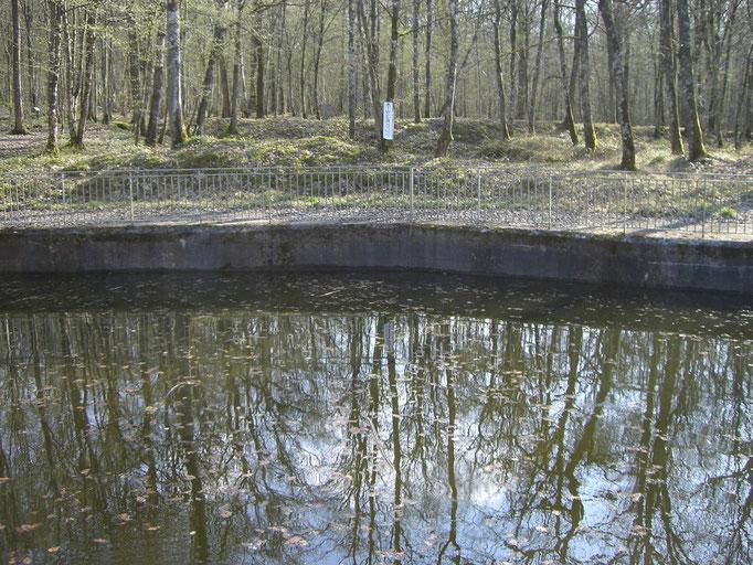 mit Regenwasser vollgelaufener Geschützstand - im Hintergrund ein Schild, das in Richtung von Verdun zeigt