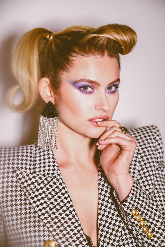 """hello 80s"" - photographer: liza boone - model: marelle white - hair: jonChao - makeup: anie lamm siu - blazer: balmain"