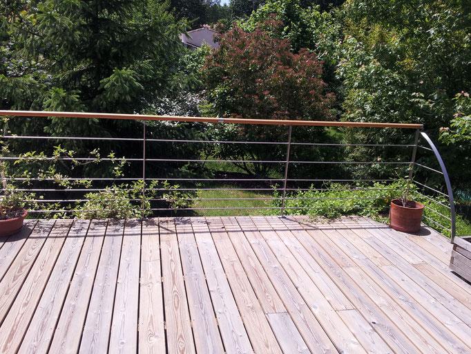 terrasse bois et métal