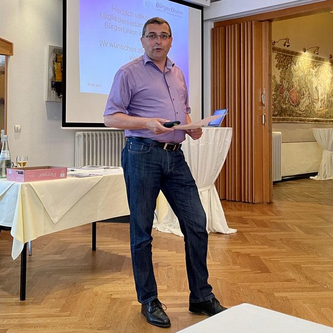 1. Vorsitzender Thorsten Schröder berichtet aus dem Vorstand