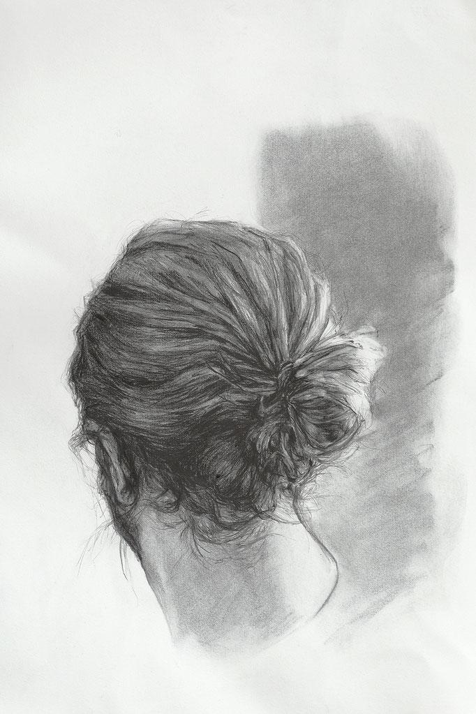 le noeud de la tête - fev17 - fusain et graphite sur papier Arches 300g, 57x45cm