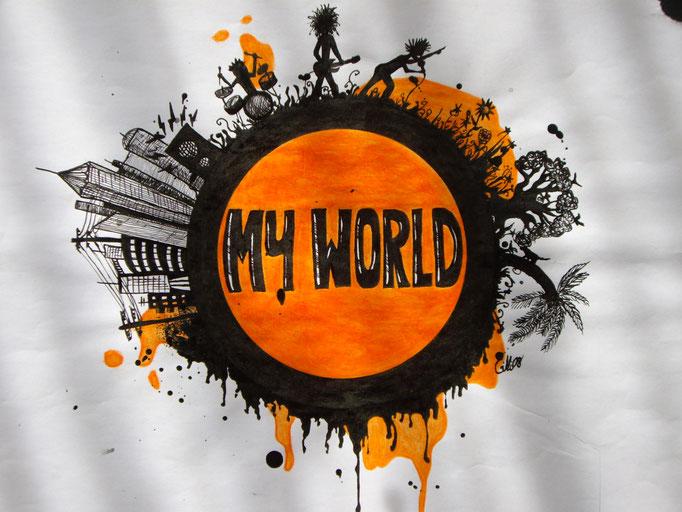 My World, Tusche & Farbstift auf Papier, 21x29.5cm - unverkäuflich
