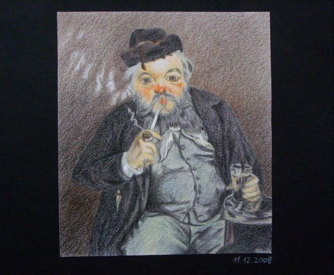 Portrait, abgemalt von Vorlage, Farbstifte auf Papier, 15x13cm - CHF 100.- (ohne Einrahmung)