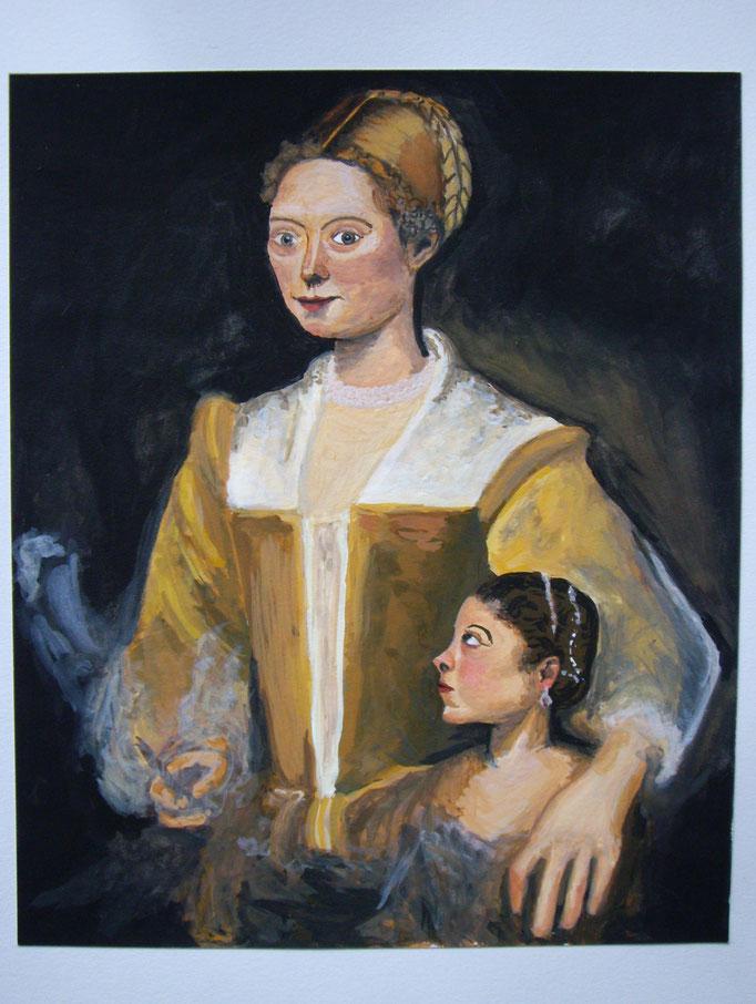 Portrait, abgemalt von Vorlage, Gouache auf Papier, 21.5x17.5cm - CHF 150.- (ohne Einrahmung)