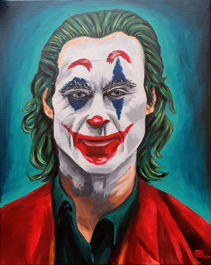 Joaquin Phoenix: Joker, abgemalt von Vorlage, Acryl auf Leinwand, 50x40cm - verkauft