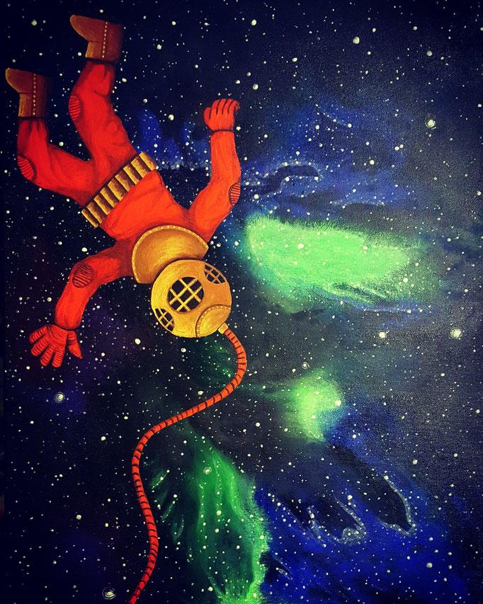 """Lost in Space, Acryl auf Leinwand, 73x50cm, leuchtet im Dunkeln - CHF 750.- (Mehr Infos unter Rubrik """"Glows in the Dark"""")"""