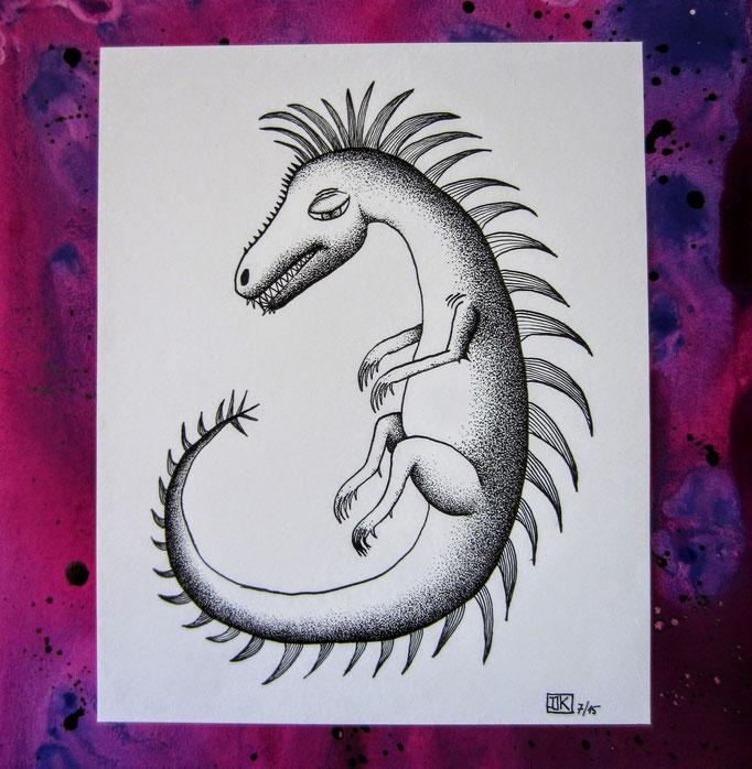 Kleiner Drache, Tusche & Gouache auf Papier, 29x29cm - verkauft