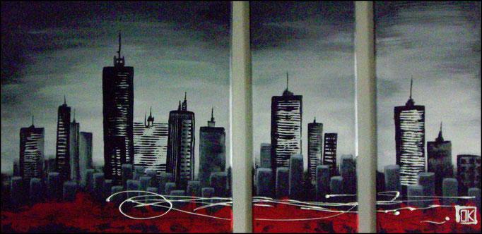 Skyline, Acryl auf Leinwand, 3-Teiler, 110x60cm (insgesamt) - verkauft