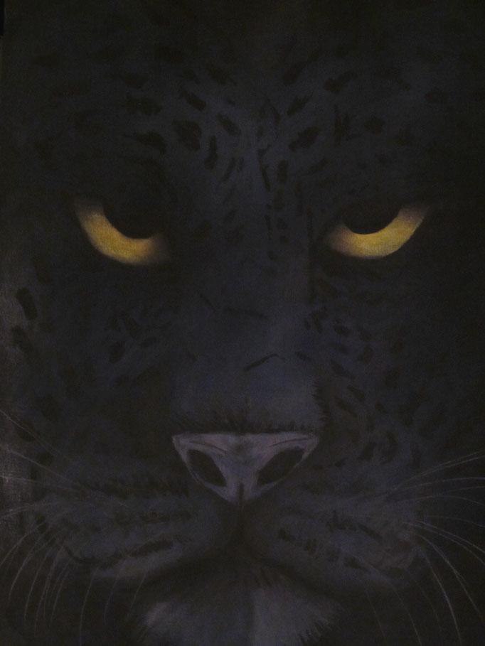Black Panther, abgemalt von Vorlage, Pastellkreide auf schwarzem Papier, 42x29.5cm - CHF 200.- (ohne Einrahmung)