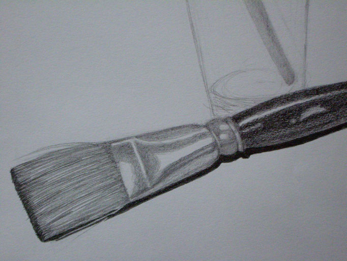 Pinsel & Glas, Bleistift auf Papier, 29.5x42cm - verkauft