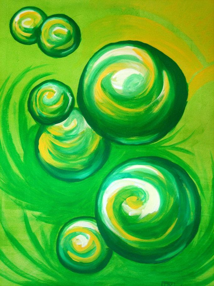 Grüne Kugeln schwingen, Gouache auf Leinwand, 59x50cm - verkauft