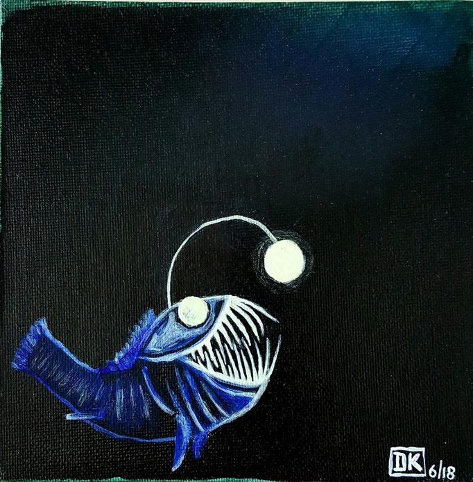 Tiefsee, Acryl auf Leinwandkarton, 15x15cm, leuchtet im Dunkeln - unverkäuflich
