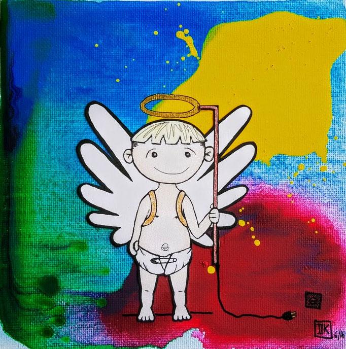 Schutz(B)engel, Acryl auf Leinwandkarton, 15x15cm - CHF 50.- (Beispielbild, Hintergrund kann variieren)