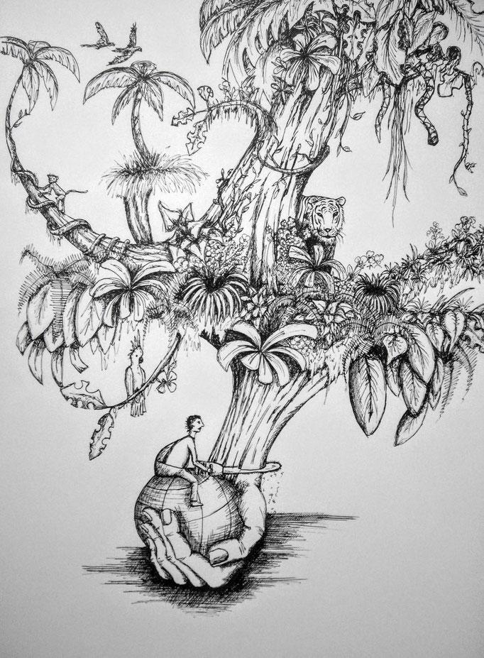 Nature, Tusche auf Papier, 42x29.5cm - unverkäuflich
