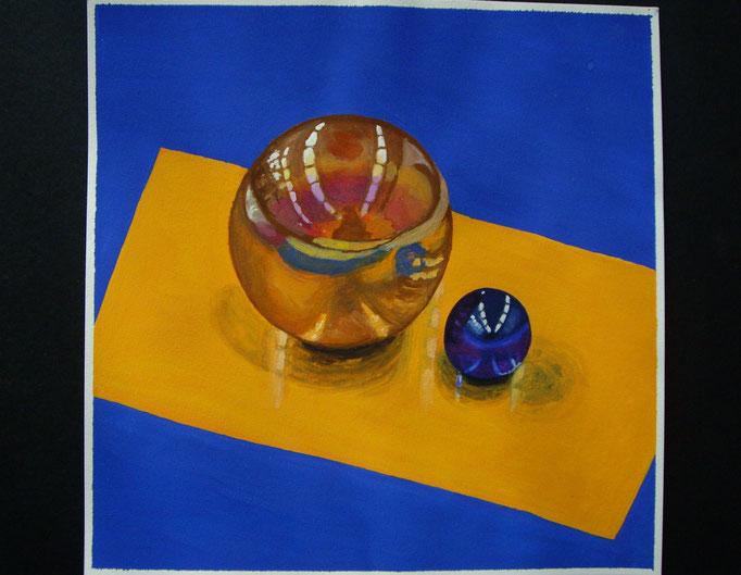 Zwei Glasmurmeln, Gouache auf Papier, 21x21cm - CHF 150.- (ohne Einrahmung)