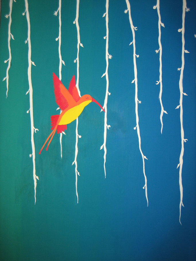 Kolibri, Gouache auf Papier, 70x50cm - CHF 450.- (ohne Einrahmung)