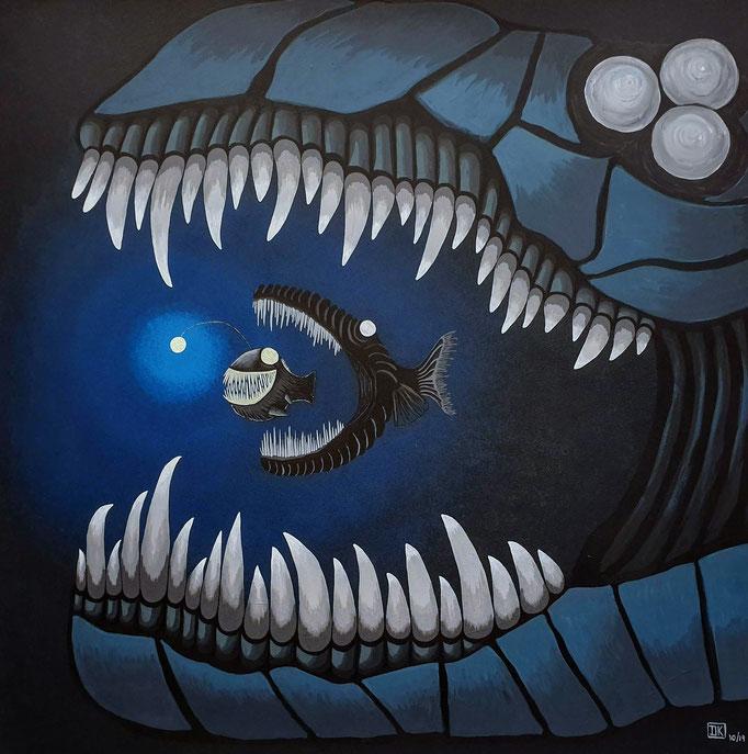 """Zähne, Acryl auf Leinwand, 80x80cm, leuchtet im Dunkeln - CHF 950.- (Mehr Infos unter Rubrik """"Glows in the Dark"""")"""