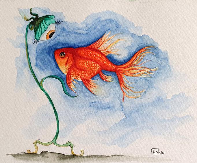 Goldfisch, Aquarell auf Papier, 17x22cm - CHF 160.- (ohne Einrahmung)