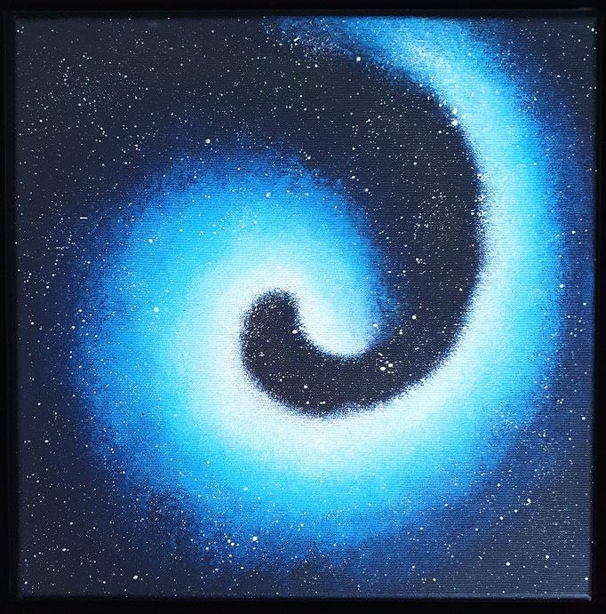 Galaxy Serie, Türkis / Blau, Acryl auf Leinwand, 30x30cm, leuchtet im Dunkeln - verkauft