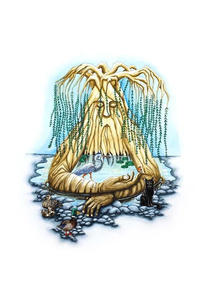 Wassermann - Aquarius (Sternzeichen Serie - Zodiac series), Aquarell auf Papier, 48x36cm - nur als limitierter Kunstdruck erhältlich (Leinwand 40x30cm inkl. Rahmen, CHF 200.-)