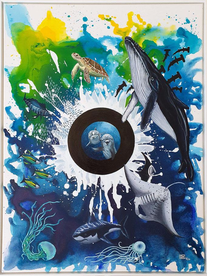 Ozean, Acryl und Tusche auf Leinwand, 80x60cm - CHF 850.-