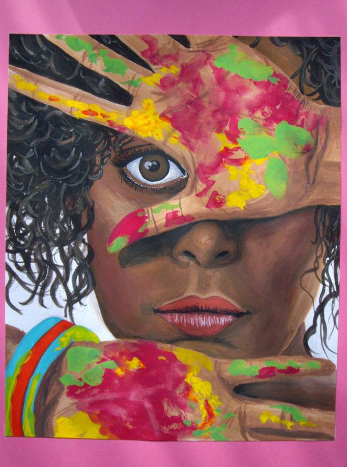 Die Künstlerin, abgemalt von Vorlage, Gouache auf Papier, 24x19.5cm - verkauft
