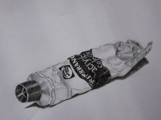 Farbtube, Bleistift auf Papier, 29.5x42cm - CHF 200.- (ohne Einrahmung)