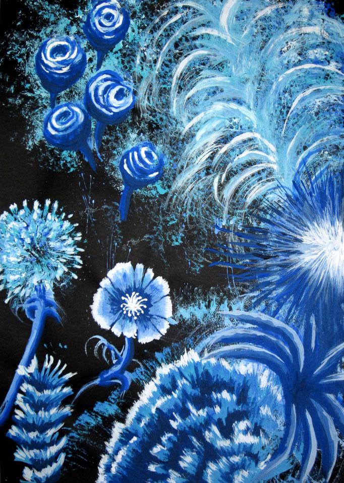 Blue Flower, Gouache auf schwarzem Papier, 60x40cm - CHF 350.-