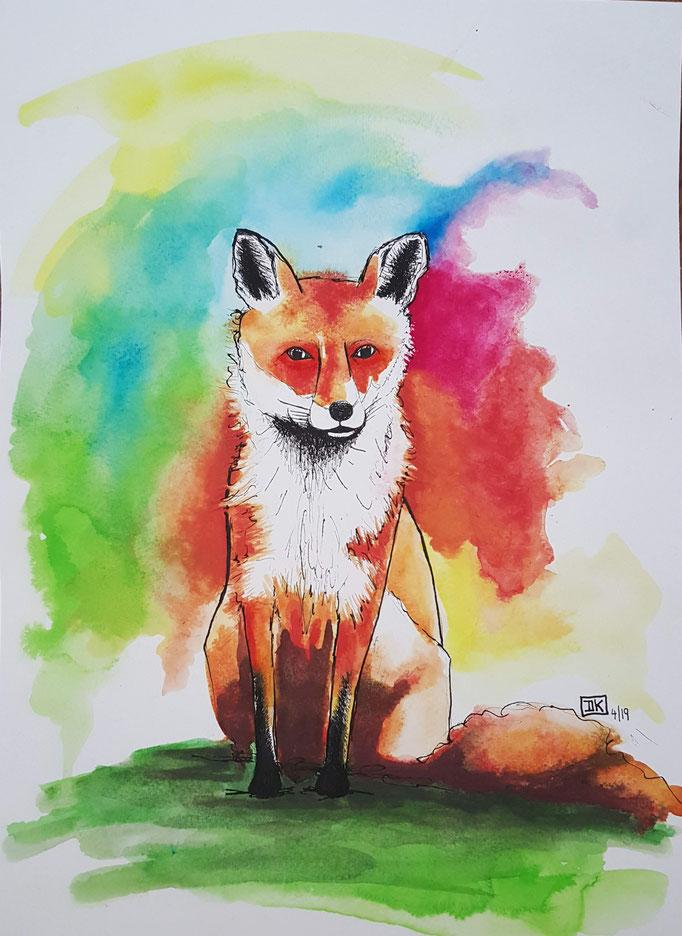 Der Fuchs, Aquarell auf Papier, 32x24cm - CHF 200.- (ohne Einrahmung)
