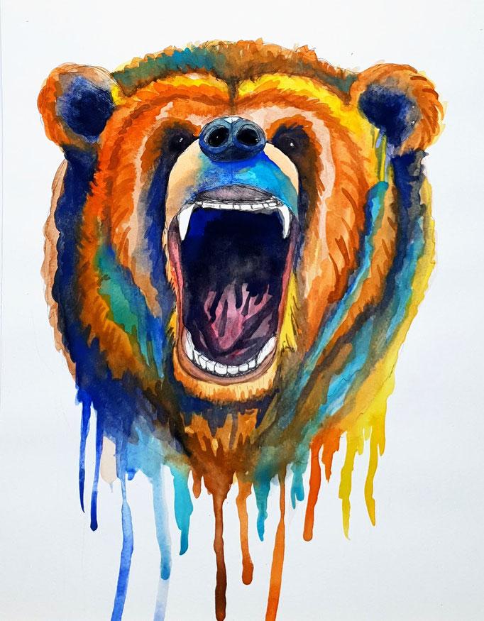 Der Bär, Aquarell auf Papier, 32x24cm - nur als limitierter Kunstdruck (Leinwand 30x30cm inkl. Rahmen, CHF 150.-) oder im Shop erhältlich