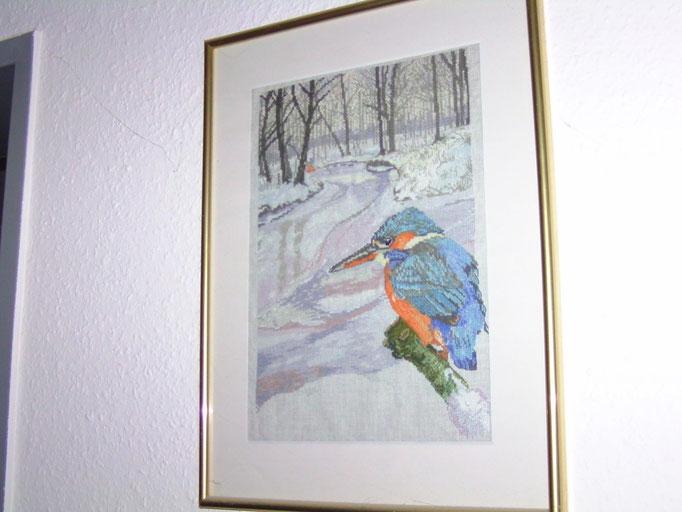 Wintervogel auf Leinen, Kreuzstich