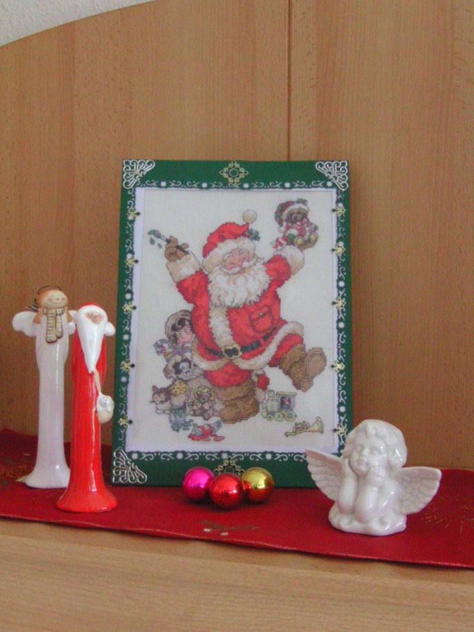 Lustiger Weihnachtsmann, Kreuzstich mit Aufsteller