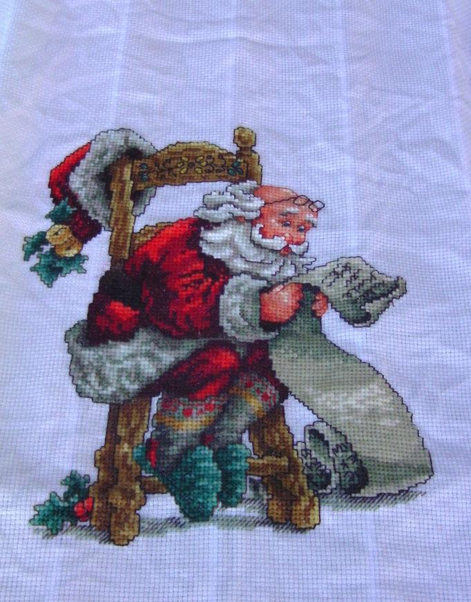 Weihnachtsmann, Kreuzstich mit Aufsteller