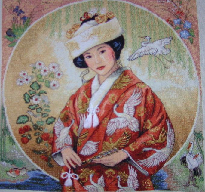 Geisha, aufwendiger Kreuzstich mit Gold