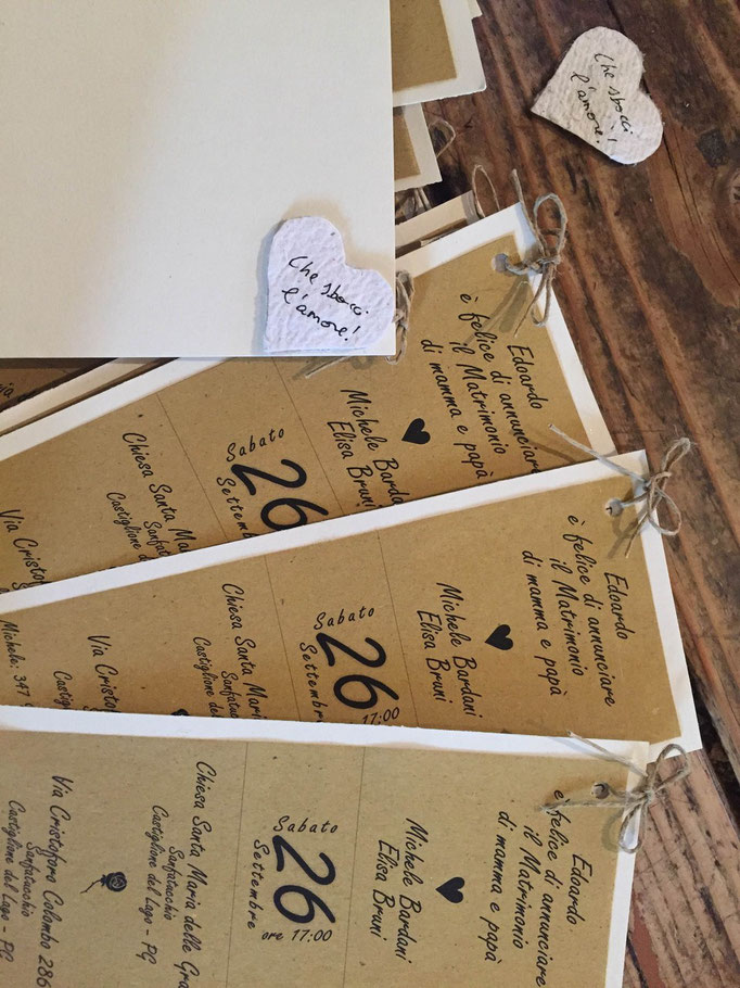 Partecipazioni fatte a mano con carta riciclata