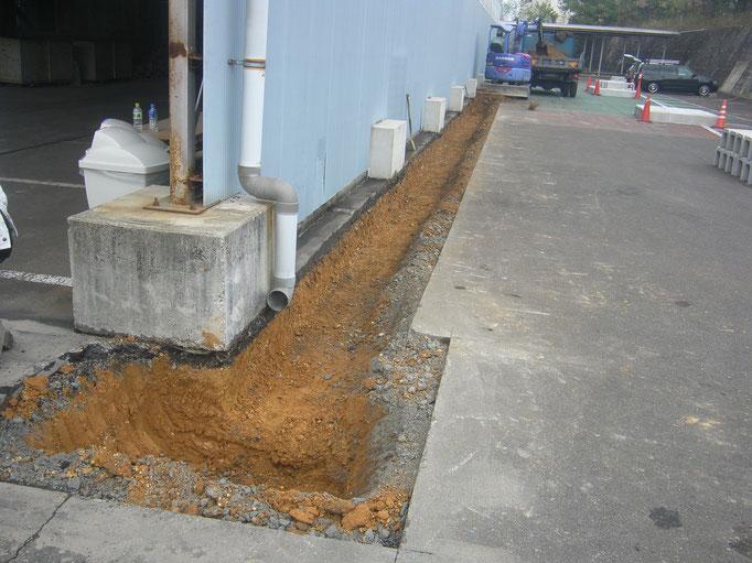 雨水排水対策工事の工事写真