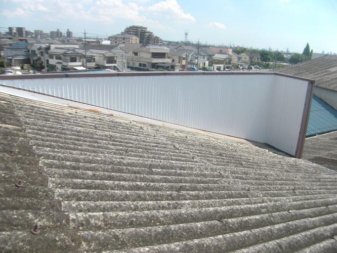 パラペット内壁漏水修理の工事写真