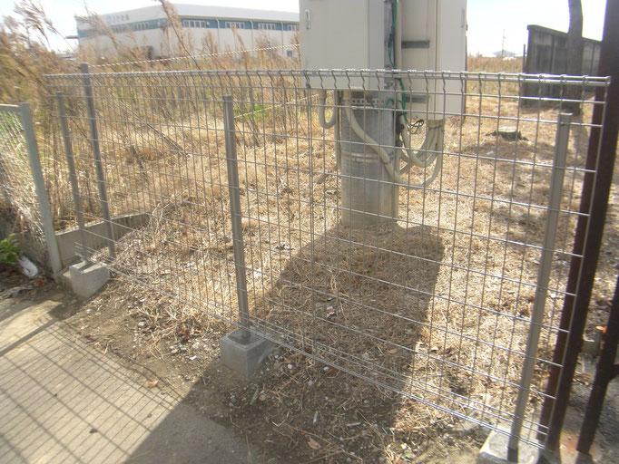 スチールフェンス工事の工事写真
