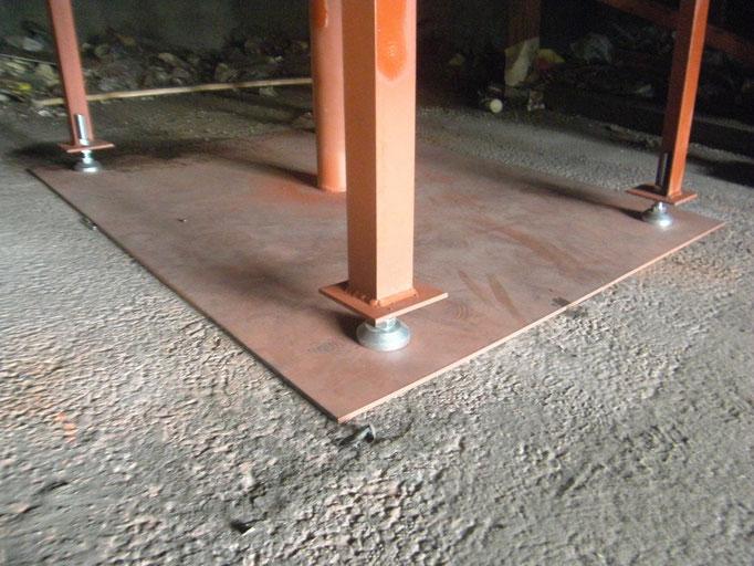 床鉄骨補強工事の工事写真