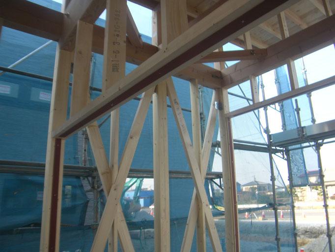 木造店舗サッシ下地平鋼の工事写真