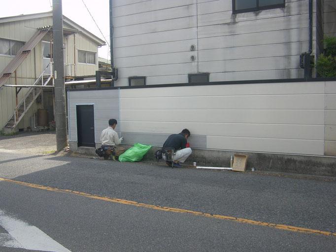道路境界塀改修工事の工事写真
