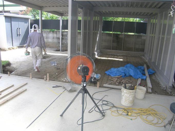 大型ガレージ新設工事の工事写真