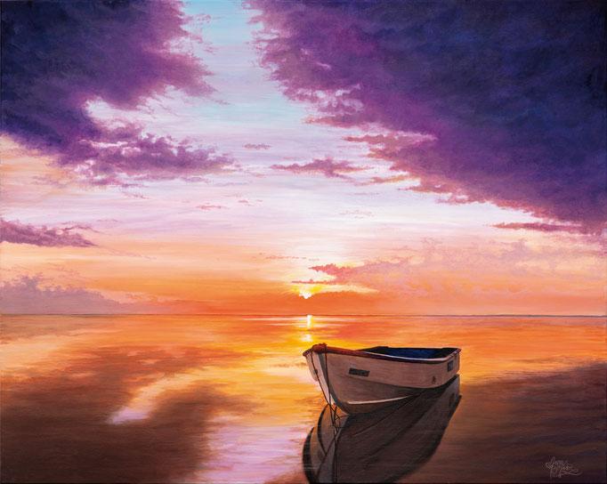 BOAT IN THE SUNSET, Acryl auf Leinwand, acrylic on canvas, 100/80cm, CHF 2'100.--, Prints erhältlich, prints available
