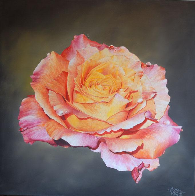 SINGLE ROSE, Acryl auf Leinwand, acrylic on canvas, 80/80cm, CHF 1'500.--