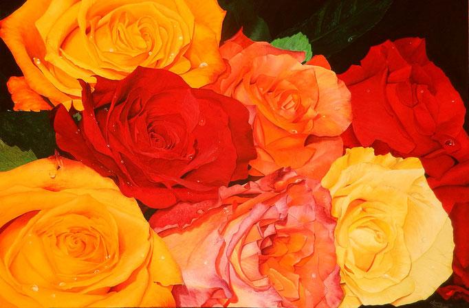 ROSENBOUQUET, Acryl auf Leinwand, acrylic on canvas, verkauft, sold