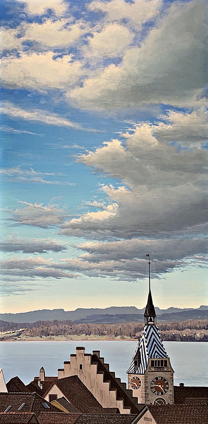 ZYTTURM, Acryl auf Leinwand, acrylic on canvas, 100/50 cm, CHF 2'800.--,  Prints erhältlich, prints available