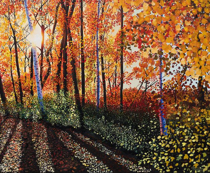 WALDPFAD, Öl auf Leinwand, oil on canvas, 100/80cm, verkauft, sold, Prints erhältlich, prints available