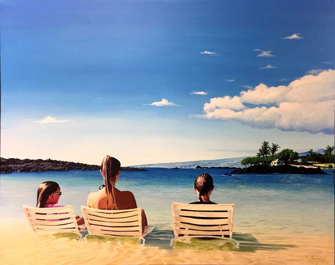 ON THE BEACH, Acryl auf Leinwand, acrylic on canvas, 100/80 cm, Auftragsarbeit, commission work