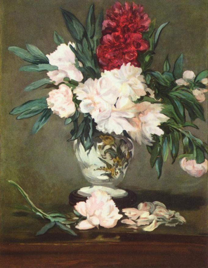 """""""Vase de pivoines sur piédouche"""", Edourd Manet, 1864-1865, huile sur toile, 93 × 70.5 cm, Musée d'Orsay, Wikimédias Commons"""