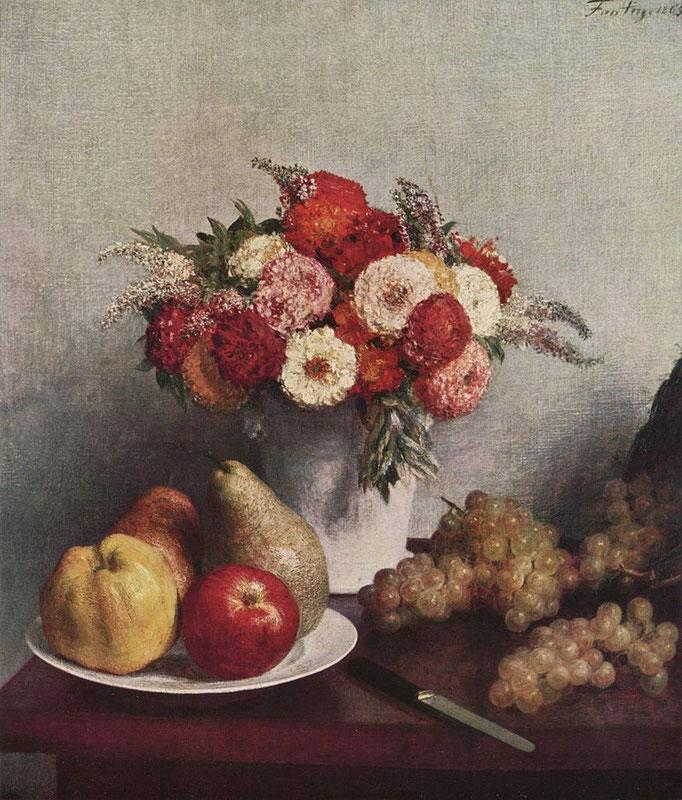 """""""Nature morte aux fleurs et fruits"""", Fantin-Latour, 1865, huile sur toile, 64 x 57 cm, Musée d'Orsay, Wikimédias Commons"""